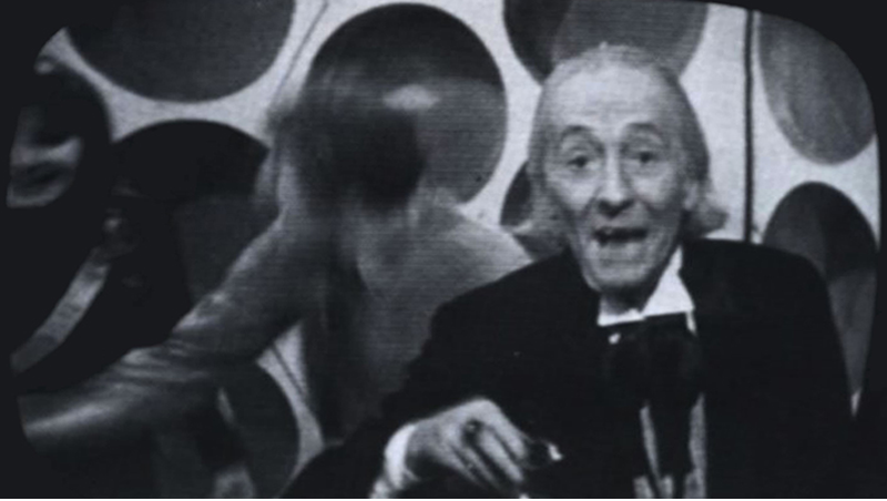 The First Doctor looking into the camera