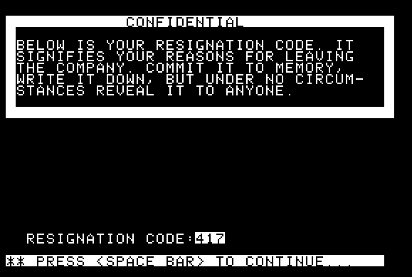 Resignation code screen in The Prisoner